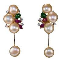 Genuine Emerald Ruby Diamond Pearl 14k Gold Baroque Button Pearl Dangle Earrings