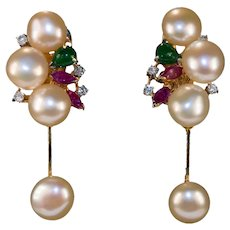 Genuine Emerald Ruby Diamond Pearl 14k Gold Baroque Button Pearl Dangle Earrings
