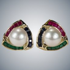Ruby Emerald Sapphire Pearl Studs 14k Pierced Omega Back Post Earrings