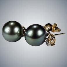 South Sea Tahitian Black Pearl Stud Earrings 14k Gold 11mm Pierced Post Studs