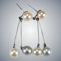South Sea White Silver Baroque Pearl Dangle Earrings 10k 18k Gold Pierced Post Dangles
