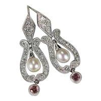 Pink Tourmaline Diamond Pearl Earrings 14k Mixed Gemstone Lyre Drop Post Earrings