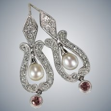 Pink Tourmaline Diamond Pearl Earrings 14k Mixed Gemstone Lyre Drop Post Earrings