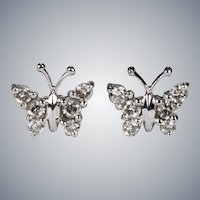 Natural Diamond Butterfly Stud Earrings 14k Gold Pierced Post Studs