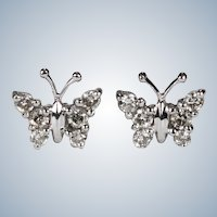 Natural Diamond Butterfly Stud Earrings 14k Gold Pierced Post Studs