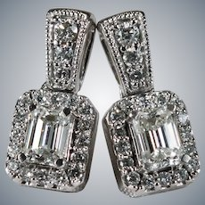 Emerald Cut Diamond Drop Earrings 14k Gold Natural Diamond Pierced Post Stud Earrings