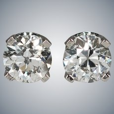 Old European Cut Diamond Stud Post Earrings .66ctw 14k White Gold Old Mine Cut