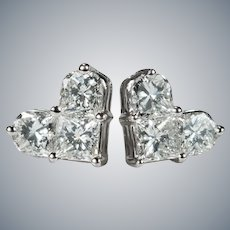 Heart Diamond Stud Earrings 1.24ctw 14k Gold Pierced Post Studs