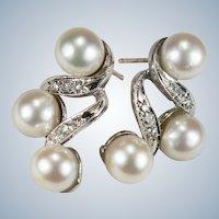 Art Deco Akoya Pearl Diamond Drop Earrings 14k Gold Cultured Pearl Pierced Post Earrings