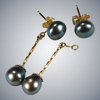 Day Night Earrings Black Pearl Dangle 14k Gold Pierced Post Studs Drop
