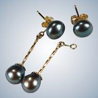 Day Night Earrings Black Pearl Dangle 14k Gold Pierced Post Studs Drop