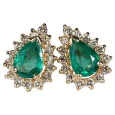 Genuine Emerald Diamond Halo Studs 14k Pierced Post Earrings