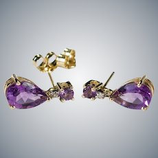 Natural Amethyst Diamond Dangle Earrings 10k Gold Alwand Vahan Pierced Post