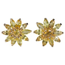 Genuine Yellow Sapphire Stud Earrings 1.50ctw 14k Gold Flower Burst Pierced Post Studs