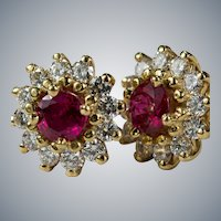 Ruby Diamond Studs 14k Mixed Gemstone Halo Pierced Post Earrings