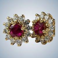 Ruby Diamond Studs 14k Mixed Gemstone Halo Pierced Post Earrings