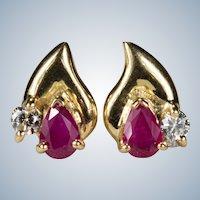 Ruby Diamond Stud Earrings 18k Gold Mixed Gemstone Pierced Post Studs