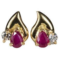 Ruby Diamond Stud Earrings 18k Gold Mixed Gemstone Pierced Post Studs