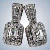 Emerald Cut Diamond Drop Earrings 14k Gold Natural Diamond Pierced Post Stud Earrings