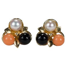 Natural Coral Pearl Stud Earrings 14k Gold Pierced Post Black Coral Salmon Coral Cultured Pearl Studs