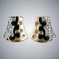 Diamond Enamel Stud Earrings 18k Gold Shield Black Enamel Diamond Studs