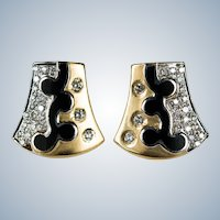 Diamond Enamel Stud Earrings 18k Gold Shield Black Enamel Diamond Studs