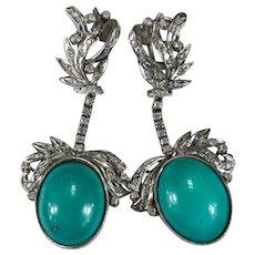 Natural Turquoise Diamond Spray Dangle Earrings 10k Gold Pierced Post Omega Back