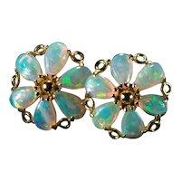 Natural Opal Pinwheel Studs 14k Pierced Stud Post Earrings