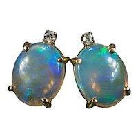 Natural Opal Diamond Studs 14k Jelly Opal Pierced Stud Post Earrings