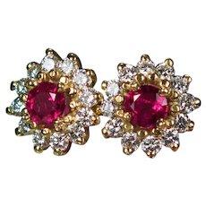 Vintage Ruby Diamond Studs 1.72ctw 14k Mixed Gemstone Halo Pierced Post Stud Earrings