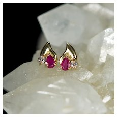 Ruby Diamond Studs 18k Gold Mixed Gemstone Pierced Post Stud Earrings