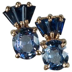 Mixed Blue Sapphire Studs 14k Gold Pierced Post Stud Earrings