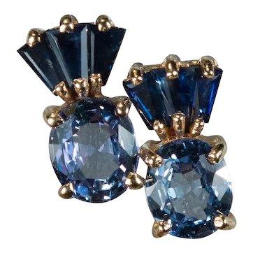 Mixed Blue Sapphire Studs 14k Gold Pierced Post Stud Earrings