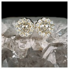 Crown Of Light Diamond Studs 2.54ctw 14k Gold Cluster Pierced Post Screw Back Flower Cluster Stud Earrings