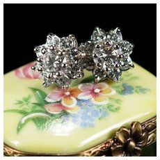 Large Diamond Flower Studs 2.38ctw 14k Pierced Post Cluster Stud Earrings