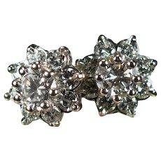 Large Diamond Flower Studs 2.38ctw 14k Pierced Post Cluster Stud Earrings