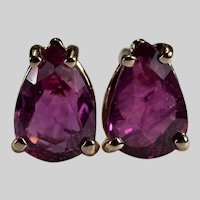 Pink Sapphire Stud Earrings 1.50ctw 14k Gold Pierced Post Studs