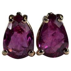 Pink Sapphire Stud Earrings 1.50ctw 14k Gold Pierced Post Studs