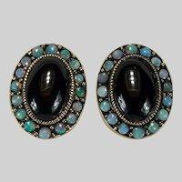 Natural Black Opal Garnet Stud Earrings 14k Yellow Gold Opal Halo Pierced Studs