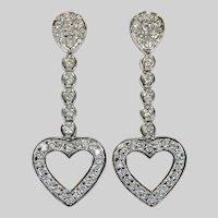 2ctw Diamond Heart Dangle Earrings 14k White Gold Pierced Post