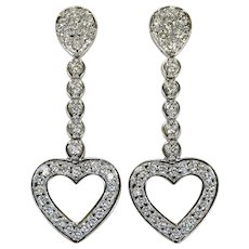 2ctw Diamond Heart Dangle Earrings 14k White Gold Pierced Post