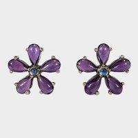 Natural Amethyst Moonstone Flower Stud Earrings 10k Gold Pierced Post Studs