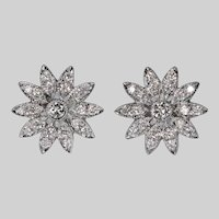 Diamond Flower Stud Earrings 18k Pierced Post Cluster Diamond Studs