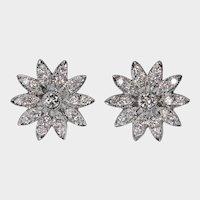 Diamond Flower Stud Earrings 18k Pierced Post Cluster Diamond Studs