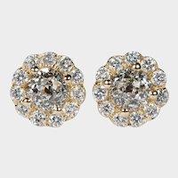 Crown Of Light Diamond Studs 2.54ctw 14k Gold Pierced Post Screw Back Flower Stud Earrings