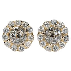 Crown Of Light Diamond Studs 2.54ctw 14k Gold Pierced Post Screw Back Flower Stud Earrings