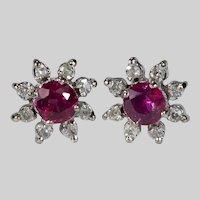 Genuine Ruby Diamond Halo Stud Earrings 14k Pierced Post Studs