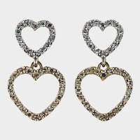 1ctw Natural Diamond Double Heart Dangle Earrings 14k Mixed Gold Pierced Post Open Hearts