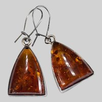 Large Natural Baltic Cognac Amber Earrings 925 Sterling Silver Pierced French Wire Dangles
