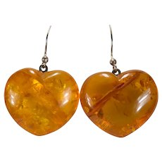 Large Natural Baltic Amber Heart Dangle Earrings Sterling Puffy Hearts